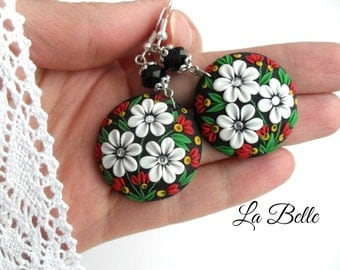 Floral filigree earrings, Polymer clay flowers, Gift for her, Bridesmaid Earrings,Polymer Clay Applique Jewelry