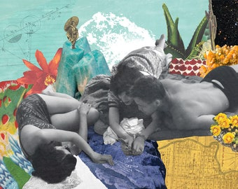 Leva + Fata, colorful collage poster, lovers of the desert