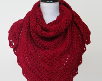 Red crochet shawl, knit triangle shawl, red triangle scarf, crochet wrap, red oversized scarf, blanket scarf, gifts for her, ready to ship