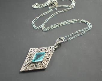 Art Deco Sterling Diamond Shaped Pendant Necklace with Turquoise Glass Stone and Marcasites