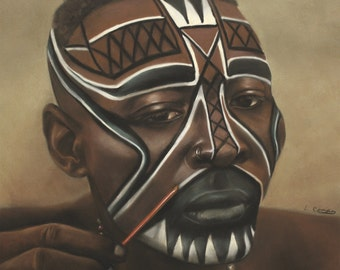 Mask 1 by Laurie Cooper (20x20) canvas Art,Black Art,African American Art.
