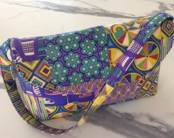 STRICTLY LIMITED Asbury Fabric Handbag with flap over and shoulder strap gift under 50 purple yellow blue Thomas Knauer