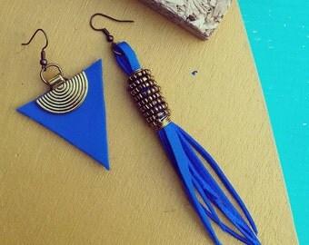 Blue earrings, asymmetric earrings, boho earrings, triangle earrings, african earrings, statement earrings, leather earrings,ethnic earrings