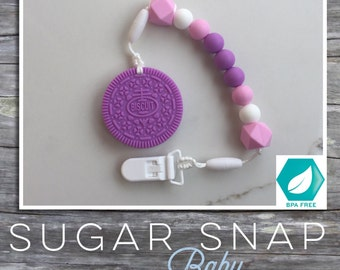 Silicone Purple Teether - cookie teether - chew toy - teether - pacifier clip - chew toy - baby toddler toy