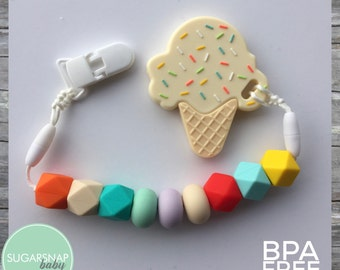 Silicone Ice Cream Teethers for Baby & Toddlers - Silicone Teething Beads - Tula Teether - Rainbow teether - hexagon silicone beads - autism