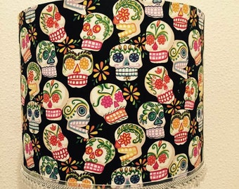 Day of the Dead- Folklorico - Mini Calaveras, lampshade, lamp, skulls, skull lampshade, sugar skulls, gothic, Alexander Henry, drum shade