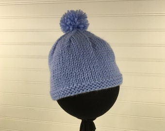 Blue Knit Baby Hat
