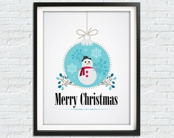 Merry Christmas Print, Christmas Art, Christmas Printable Decor, Printable Christmas Decor, Christmas Poster, Instant Download, Downloadable