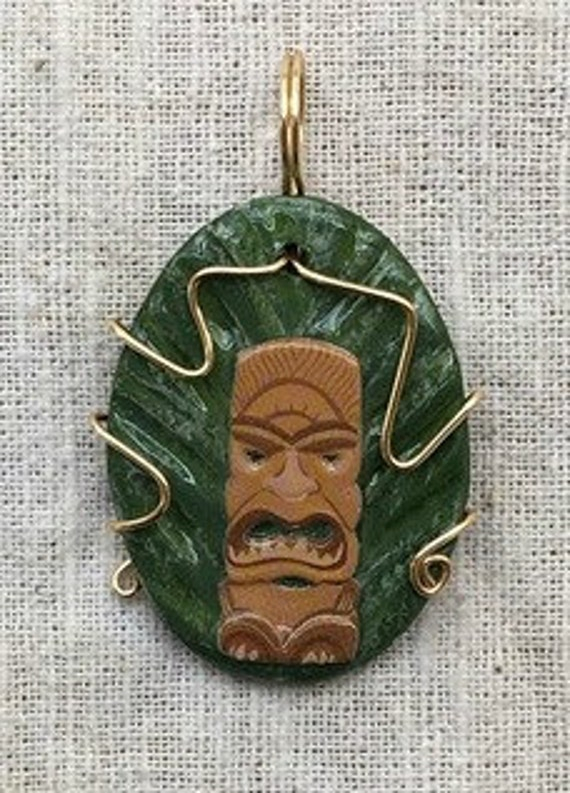 Tiki necklace, tiki, tiki pendant, tiki jewelry, hawaiian necklace, tribal necklace, tropical necklace, rockabilly necklace, summer necklace