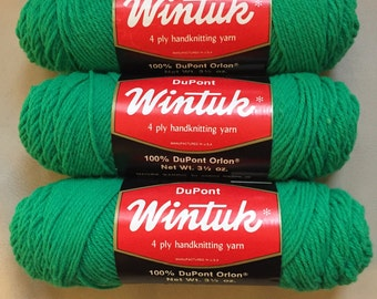 Vintage 3 Skeins Wintuk Handknitting Yarn