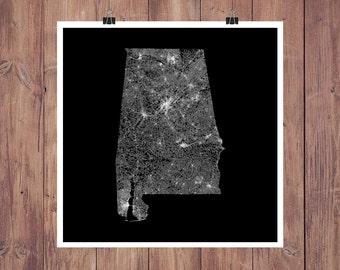 Alabama Roads High Resolution Digital Print / Map of Alabama / Alabama Print / Alabama Wall Art / Alabama Poster / Alabama Map Art