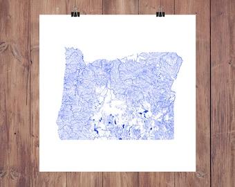 Oregon Map - High Res Map of Oregon Rivers / Oregon Print / Oregon Art / Oregon Decor / Oregon Gift / Oregon Decor / Oregon Ducks