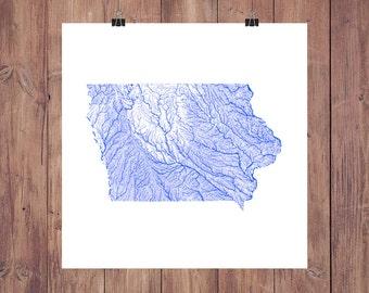 Iowa Map - High Res Digital Map of Iowa Rivers / Iowa Print / Iowa Art / Iowa Poster / Iowa Gift / Iowa Wall Art / Iowa Map Art / Iowa Decor