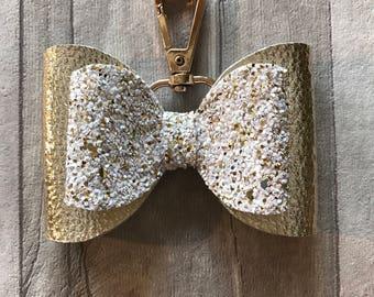 Handmade - Bespoke Gold glitter hangbag charm - large bow handbag accessory - chunky glitter - gold leatherette
