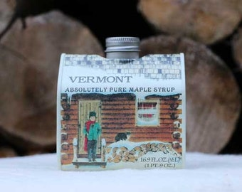16.9 oz Organic Pure Vermont Maple Syrup Log Cabin Tin