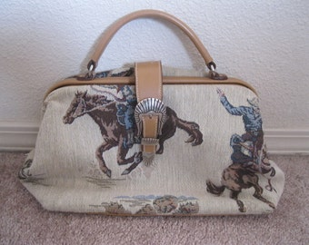 TAPESTRY WESTERN Handbag/PURSE~Country Cowgirl Bag~Country Western Purse~Cowboy Purse~Ladies Cowboy Bag~Western Purse With Cowboys & Horses.
