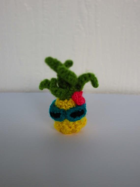 Pineapple with sunglasses amigurumi crochet office decor