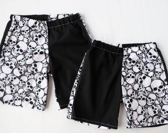 Size 3 Black and white Halloween Skull Shorts, boys pirate shorts
