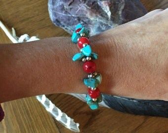Respect Tribal Homelands, Genuine Zuni Reservation Turquoise, Magnetic Clasp Bracelet