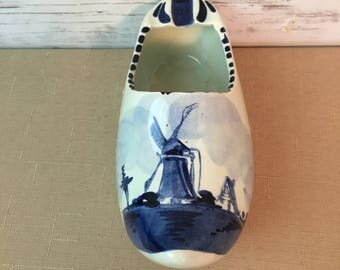 Delft Blue Vintage Made In Holland Clog Shoe Hand Painted Windmill Ashtray