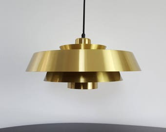A vintage Danish Jo Hammerborg Brass Nova pendant light for Fog & Mørup, 1960s
