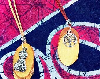 Wood and charm pendants