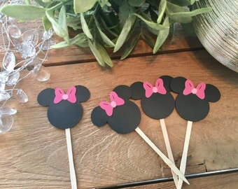 Minnie Mouse Toppers, Minnie Cupcake Toppers, Minnie Food Picks, Minnie Mouse Party, Minnie Birthday Party