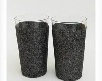 Glitter pint glasses, clear rim
