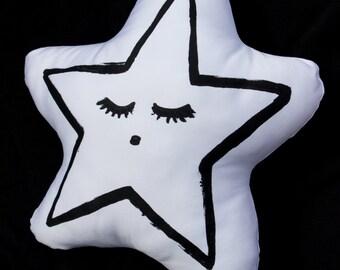 black and white star kids throw pillow