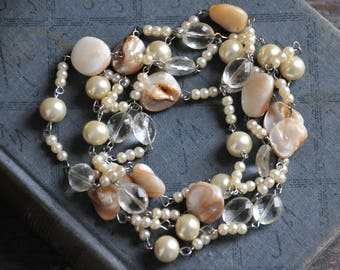 vintage long mother of pearl necklace, long beaded necklace, boho bohemian  bracelet
