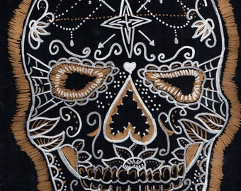 Dia de los muretos sugar skull day of the dead original art drawing!