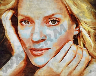 Uma Thurman Art Print - Oil Painting Poster  LFF0209