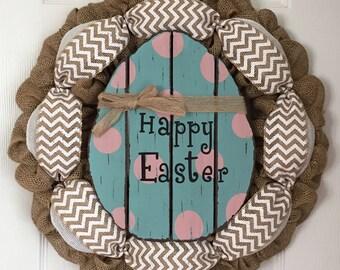 Burlap Easter Egg Wreath - Easter Egg Door Hanger - Spring Door Hanger - Farmhouse Easter Door Decor - Rustic Easter Door Hanger -Egg Hanger