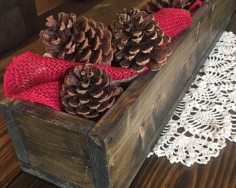 Rustic Wooden Stained Centerpiece Box