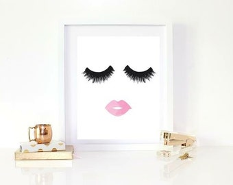 Lashes and lips print