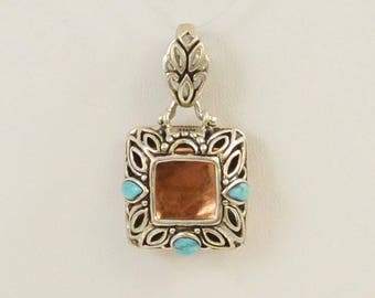 Sterling Silver 925 & Copper Turquoise  Pendant (01172)