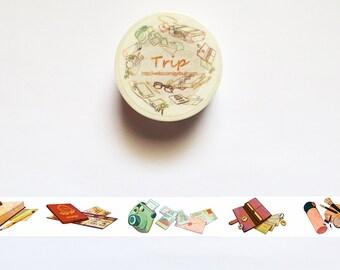 Travel Washi Tape, Traveler's Notebook Voyage Washi Tape Roll, Airplane, Passport, Wanderlust, Suitcase