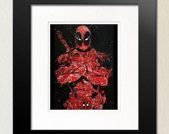 Deadpool Painting Print, Expressionist Art Print, Pop Art Print, Wall Art, Poster, Red, Blood Red, White, Splatter