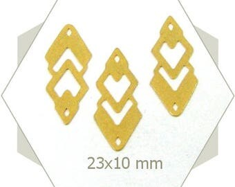 8 Gilded diamond-shape charm, sequin, brass based, perforated charm