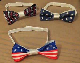 Handmade baby bow tie: polka dot/fourth of July/nautical