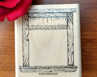 Country Lace Window Stamp Rubber Stamper by Stampin' Up!, 2004 Retired, Window Frame, Wood Mounted, Valance