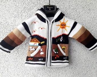 Cream/Brown-unique children's jacket with patches