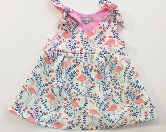 "Eddie & Bee ""Hope"" Dress in ""flamingos"" organic cotton double gauze."