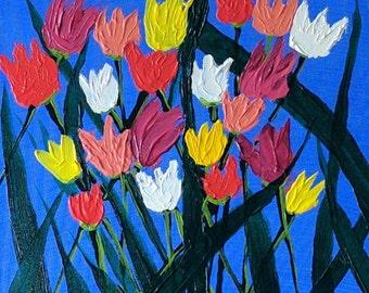 "Original Acrylic painting on canvas - ""tulips"""