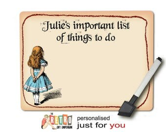 Alice in Wonderland, Personalised, Kitchen Memo Board, dry wipe, magnetic, with magnetic dry wipe pen, message board