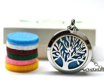 Tree of Life Stainless Steel Locket Essential Oil Diffuser Necklace // Aromatherapy Necklace // - With Choice of Essential Oil