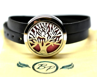 Tree of Life Stainless Steel Essential Oil Bracelet - With Choice of Essential Oil