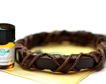 Cross Wrapped Leather Essential Oil Bracelet - With Choice of Essential Oil