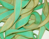 "Mint  by Color Burst Silk//Made to Order Hand Dyed Silk Wrist Wrap Bracelet Ribbon//Wrist Wrap Bracelet Ribbon//42""Silk Wrap Ribbon"