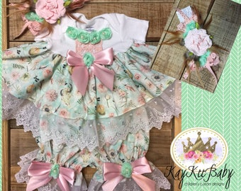 0-3 mon Baby dress and infant layette with headband gown set